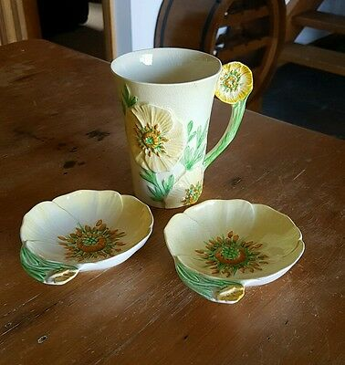 Carlton Ware Yellow Buttercup Mug & Condiment Dishes