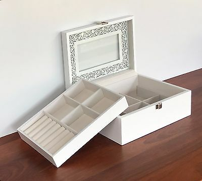 Quality Wooden Jewellery Box Case Glass Top Removable Compartment White Gift
