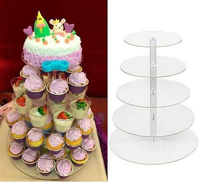 5/7 Tier Clear Wedding Birthday Party Acrylic Round Cake Cupcake Stand Tower