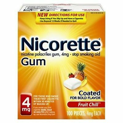 Nicorette Gum 4 mg Fruit Chill -Stop Smoking - 100 pieces - NEW STOCK!