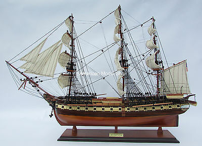 "USS Constitution Tall Ship Full Assembled 35"" Built Wooden Model Ship NEW"