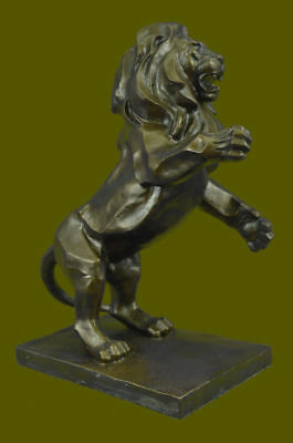 Bronze Classic Roaring Lion and Mountain Sculpture by Henry Moore Figurine DB