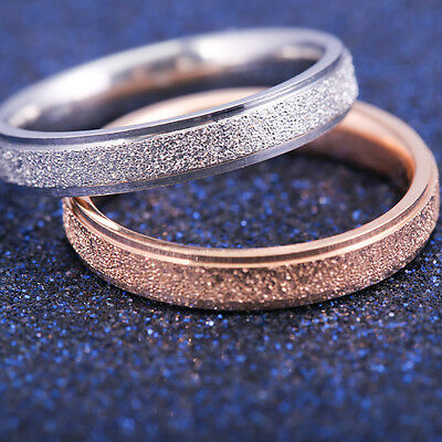 4mm Fashion Stainless Steel Rose Gold Frosted Women Wedding Band Ring 5-13