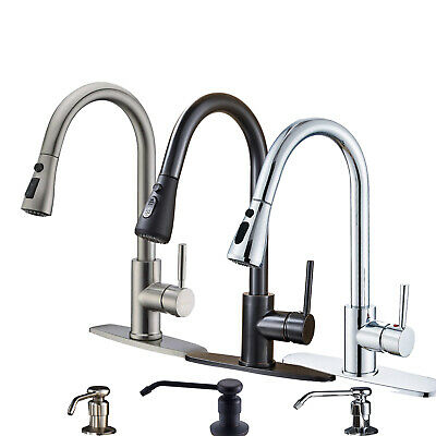 Pull Down Sprayer Kitchen Faucet Swivel Single Hole Sink Mixer Taps Deck Mounted
