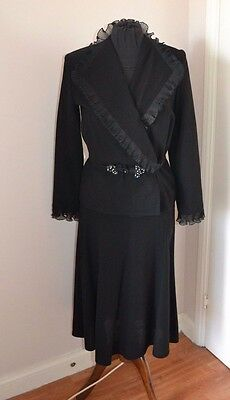 DIETER London wool crepe fitted skirt suit with frill & diamante fastening S10