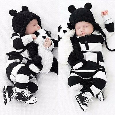 Cute Newborn Baby Boy Girl Kids Clothes Long Sleeve Rompers Striped Outfits 0-3Y