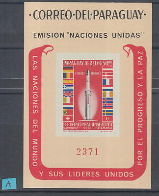 XG-H274 PARAGUAY - Space, 1964 United Nations, Europa Rocket, Imperf. MNH Sheet