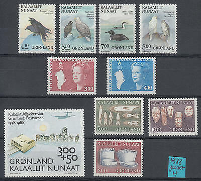 XG-H539 GREENLAND - Year Set, 1988 Complete As Per Scan, Birds, Dogs MNH