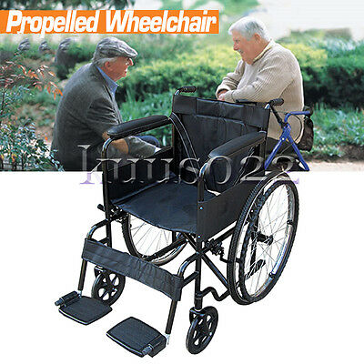 Wheelchair Lightweight AID Puncture Proof Self Propel Folding Portable Propelled
