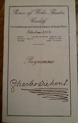 Prince of Wales Theatre Programme Cardiff 1954 Emlyn Williams as Charles Dickens