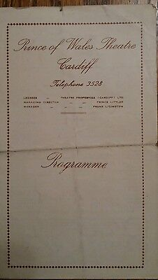 VTG Prince of Wales Theatre Programme Cardiff 1950 Donald Wolfit, Rosalind Iden