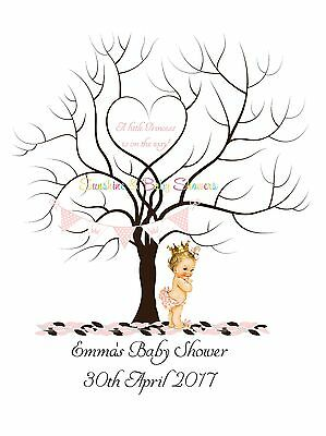 Finger Print Tree LITTLE PRINCESS BABY SHOWER PERSONALISED A3 OR A4 INC INK