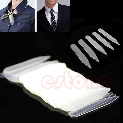 200/400/800Pcs Men Women Formal Bones Shirt Collar Stiffeners Stays Tabs Plastic