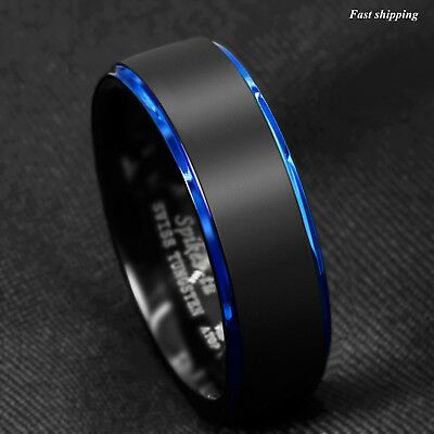 8/6mm Tungsten Ring Black Brushed Blue Stripe Wedding Band ATOP Men's Jewelry