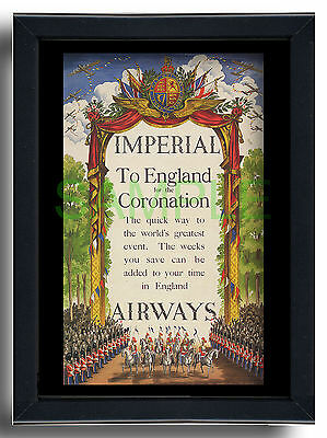 Imperial Airways framed repro poster Coronation George VI 1937
