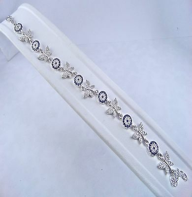 Original 925 Silver Turkish Handcraft Jewelry / White Zircon Butterfly Bracelet