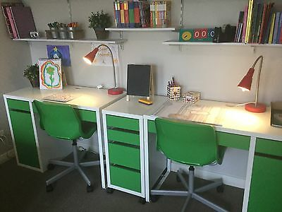 2 Children's Desk's, 2 Chairs, 2 Lamps And Set Of Draws