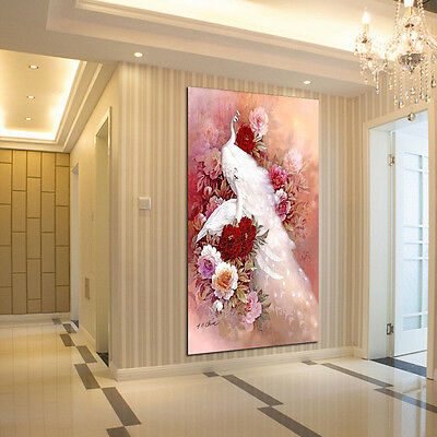 DIY White Peacock 5D Diamond Embroidery Painting Landscapes Cross Stitch Decor