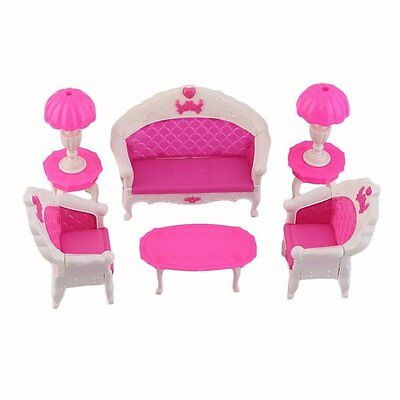 8Pcs Toys Barbie Doll Sofa Chair Couch Desk Lamp Furniture Set Disassembled P2Y7