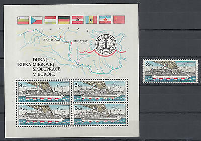 XG-I153 CZECHOSLOVAKIA - Ships, 1982 Danube Commission, 3K Stamp And MNH Sheet