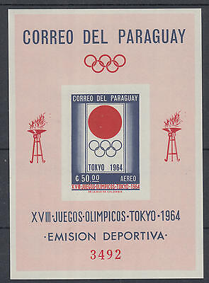 XG-I323 PARAGUAY - Olympic Games, 1964 Japan Tokyo '64 Airmail Imperf. MNH Sheet