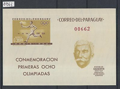 XG-I324 PARAGUAY - Olympic Games, 1963 Coubertin, Sites, Imperf. MNH Sheet