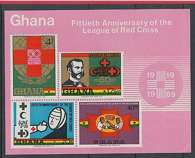 XG-I418 RED CROSS - Ghana, 1969 50Th Anniversary Of The League Imperf. MNH Sheet