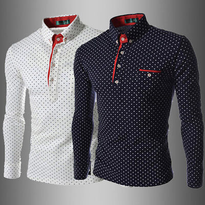 Men Fashionable England Style Long Sleeve Wave Point Printed Polo Shirt DE