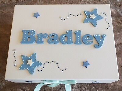 Personalised Boys Large memory box Christening keepsake Birthday (empty)