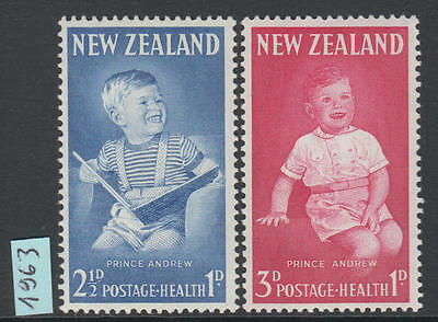 XG-I678 NEW ZEALAND - Royalty, 1963 Prince Andrew, Health Stamps MNH Set