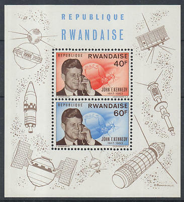 XG-I868 RWANDA - Kennedy, 1963 Memorial, Space, Satellites MNH Sheet
