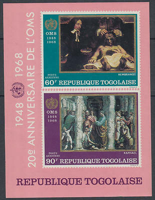 XG-I879 TOGO IND - Paintings, 1968 1948, Oms 20Th Anniversary, Imperf. MNH Sheet
