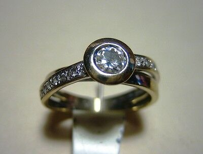 Bague Or Gris Et Diamants Or 750 Bague Contemporaine