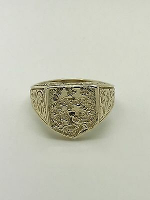 9Carat (9ct) Gold Mens England Shield Ring - Yellow Gold - Size T - 5.03g