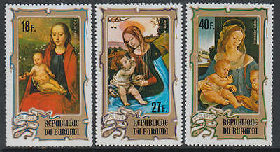 XG-J341 PAINTINGS - Burundi, 1974 Christmas, Madonnas, Nativity MNH Set
