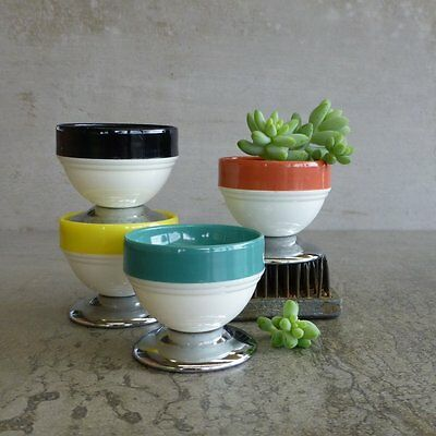 Set of 4 Vintage Sydenham Egg Cups Melmac and Chrome Mid Century Australian 1950