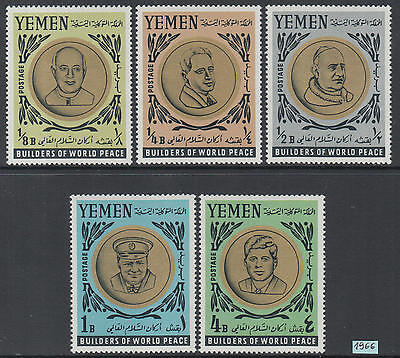 XG-J979 YEMEN - Kennedy, 1966 Builders Of World Peace, Popes MNH Set