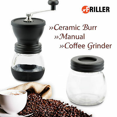 Manual Ceramic Burr Coffee Bean Grinder Hand Mill New Portable Stainless Crank