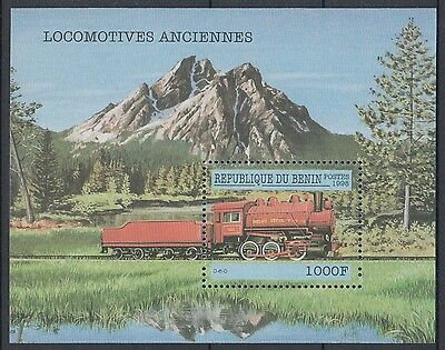 XG-K107 BENIN - Trains, 1998 Ancient Locomotives, Nature, Mountains MNH Sheet
