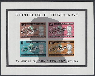 XG-K142 TOGO IND - Kennedy, 1963 Memorial, Lincoln, Imperf. MNH Sheet