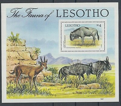 XG-K152 WILD ANIMALS - Lesotho, 1987 Fauna, Cape Wildebeest MNH Sheet