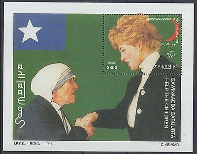 XG-K192 SOMALIA - Lady Diana, 1997 Mother Teresa, Children Help MNH Sheet