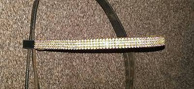 """Gold Real Crystal Bling Browband, Full Size 16""""  Black Leather,  **new**"""