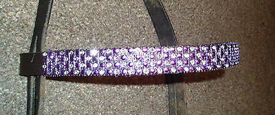 """Purple And Silver Blingy Browband, Cob Size 15""""  Brown Leather,  *new* Bling"""