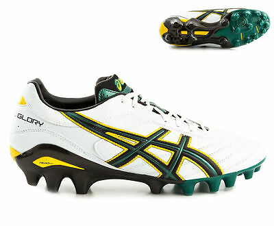 Asics Lethal Glory Rugby Boots Moulded Studs White/Black/Green now just £89.99 !