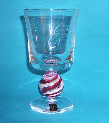 Langham Glass Goblet With Candy Swirl Stem - Engraved With Letter E.