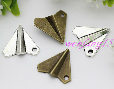 Charm connector Tibetan silver Exquisite small aircraft necklace 10/200pcs 1.4G