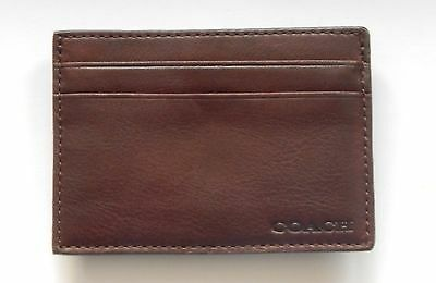 Coach Water Buffalo Money Clip Card Case Burgundy