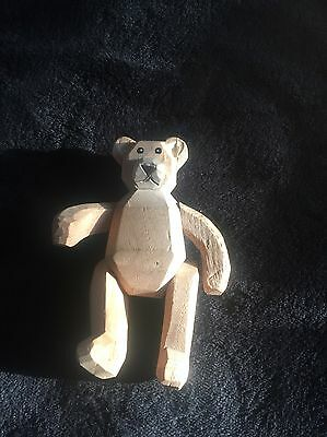 Carved Wooden Teddy Bear