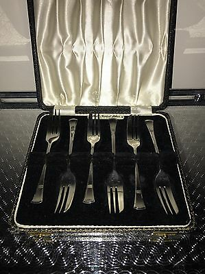 Solid Sterling Silver - 6 Hallmarked Cake Forks - Birmingham 1948 By Angora